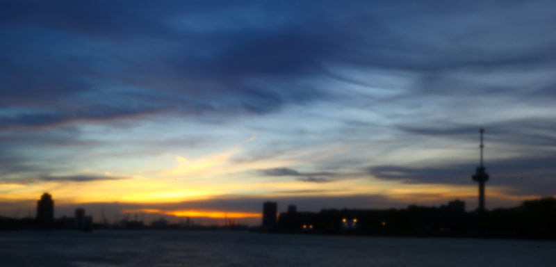 Panorama of Rotterdam skyline at sunset, taken with a pinhole lens
