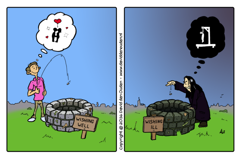 Cartoon: wishing well, wishing ill