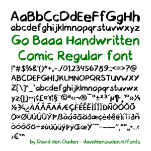 Go Baaa Handwritten Comic Regular font demo