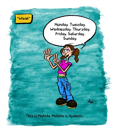 "Commentary: ""Weak"" Matilda: ""Monday. Tuesday. Wednesday. Thursday. Friday. Saturday. Sunday."" This is Matilda. Matilda is dyslexic."