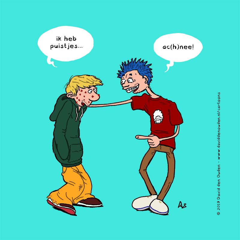 """Skater met puistjes: """"ik heb puistjes..."""" Jongen met Go Baaa! T-shirt en blauw haar: """"ac(h)nee!"""""""