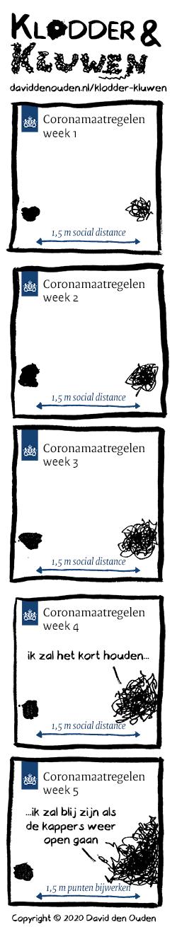 1. coronamaatregelen week 1 Pijl: 1,5 m social distance 2. coronamaatregelen week 2 Pijl: 1,5 m social distance 3. coronamaatregelen week 3 Pijl: 1,5 m social distance 4. coronamaatregelen week 4 Kluwen: ik zal het kort houden...  Pijl: 1,5 m social distance 5. coronamaatregelen week 5 Kluwen: ...ik zal blij zijn als de kappers weer open gaan Pijl: 1,5 m punten bijwerken