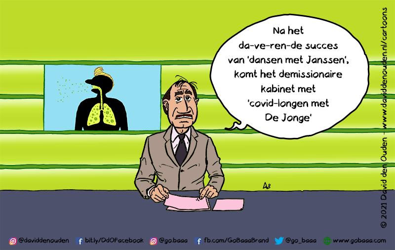 """Nieuwslezer: """"Na het da-ve-ren-de succes van 'dansen met Janssen', komt het demissionaire kabinet met 'covid-longen met De Jonge'"""""""